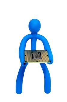 L'uomo di gomma blu mantiene il processore isolato su sfondo bianco