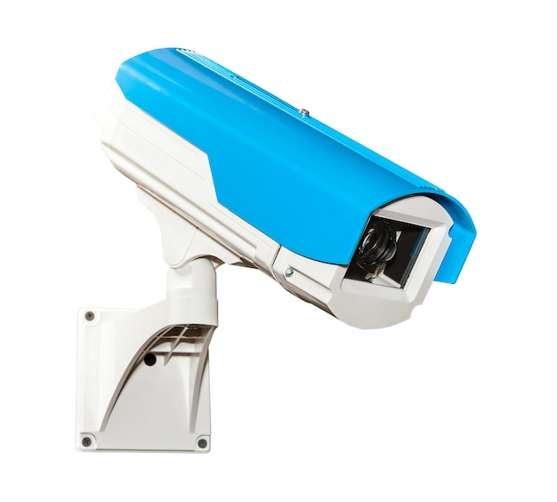 Telecamera di sicurezza blu isolata su bianco