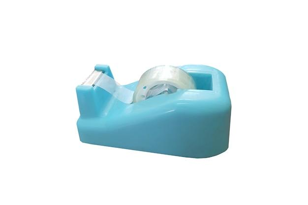 Dispenser di nastro adesivo blu sellotape isolato su sfondo bianco