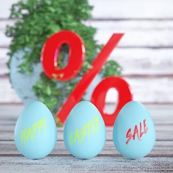Uova di pasqua lucide blu con segno di vendita di buona pasqua con segno di percentuale rosso su un primo piano estremo del tavolo tavola di legno. rendering 3d