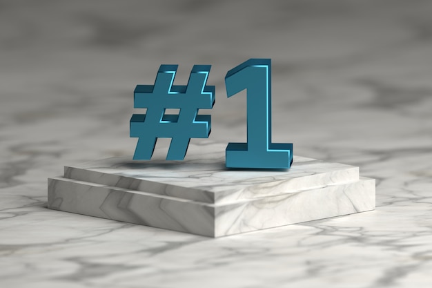 Lettere di numero uno in metallo lucido blu sul podio del piedistallo di marmo. concetto di vincere