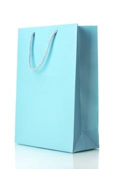 Sacchetto della spesa blu isolato su bianco