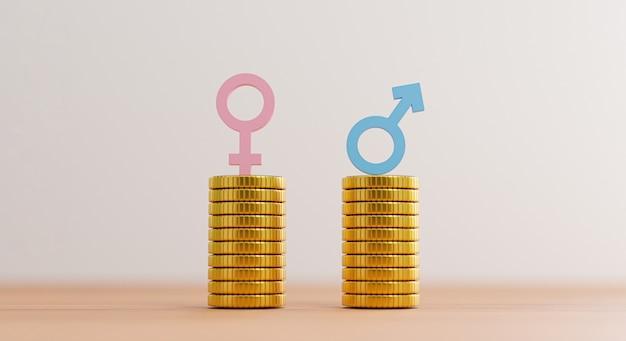 Segno blu dell'uomo sulle monete che impilano l'uguaglianza con il segno della donna rosa sull'impilamento delle monete per la parità di diritti umani e il concetto di genere di affari tramite il rendering 3d.