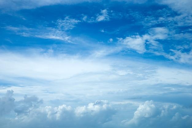 Sfondo azzurro del cielo con piccole nuvole. soffici nuvole nel cielo. cielo estivo di sfondo