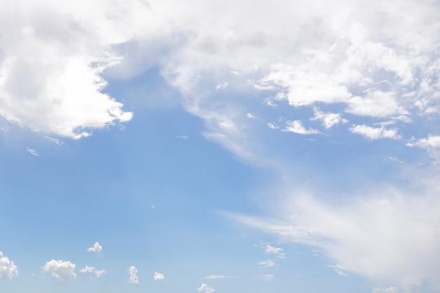 Cielo azzurro con nuvole bianche e sole.