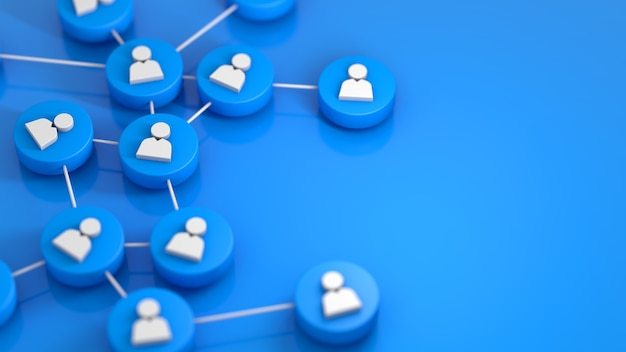 Rete sociale blu che collega l'icona della gente. rendering 3d