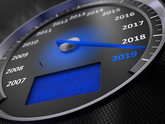 Il tachimetro blu indica 2019 e la scritta sullo schermo: happy new year. rendering 3d