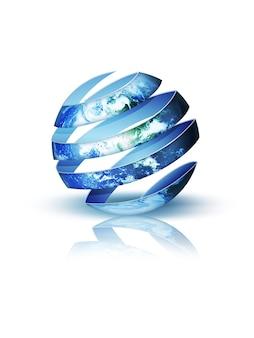 Pianeta a spirale blu isolato su sfondo bianco