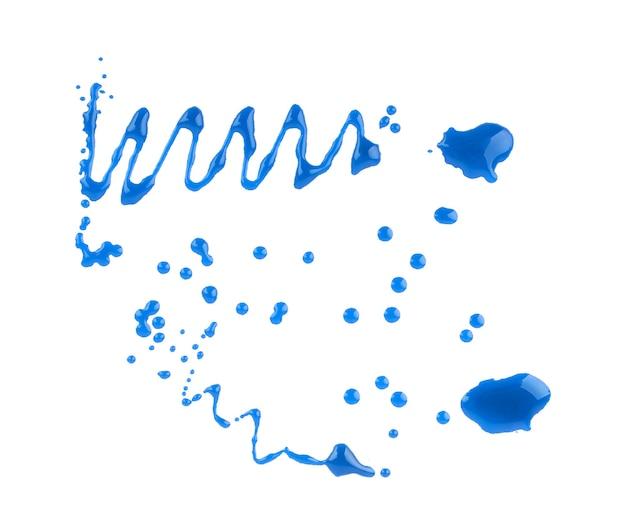 Spruzzi blu per uso di progettazione isolato su sfondo bianco