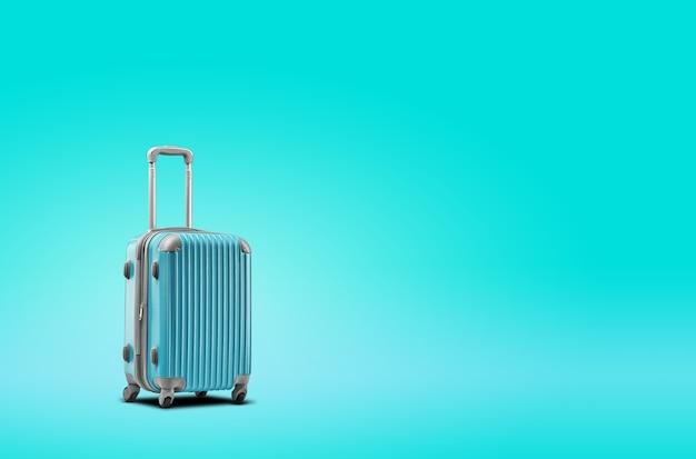 La valigia blu è in piedi