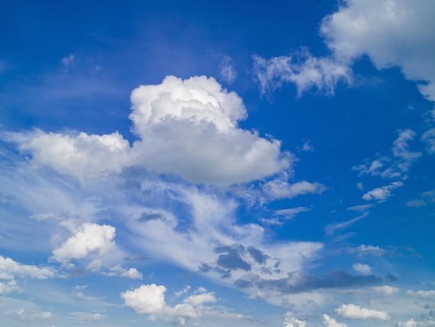 Cielo estivo blu con nubi cumuliformi bianche illuminate dalla luce solare.
