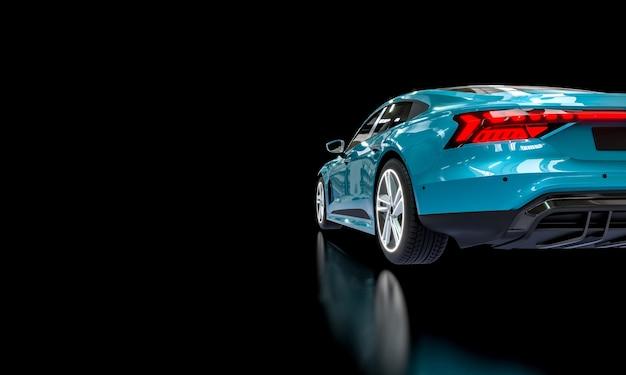 Super car blu su sfondo scuro. rendering 3d.