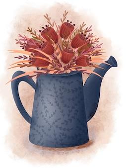 Teiera blu con fiori rossi. teiera carina con bouquet di fiori primaverili