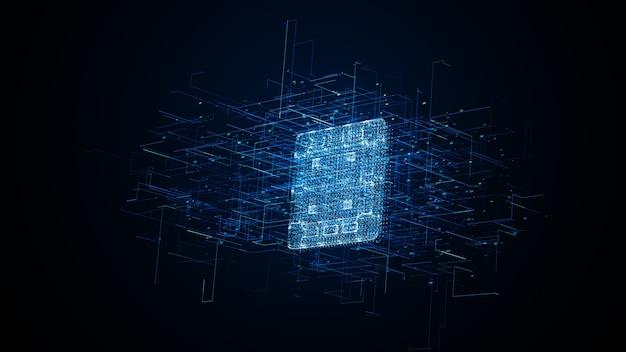 Sfondo blu microprocessore tecnologico. chip cpu astratto