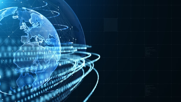 Sfondo di connessione dati di rete di tecnologia blu