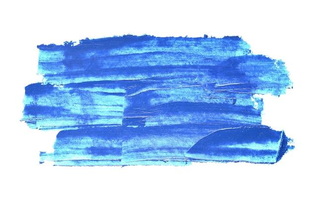 Pennellate con texture blu isolate su sfondo bianco