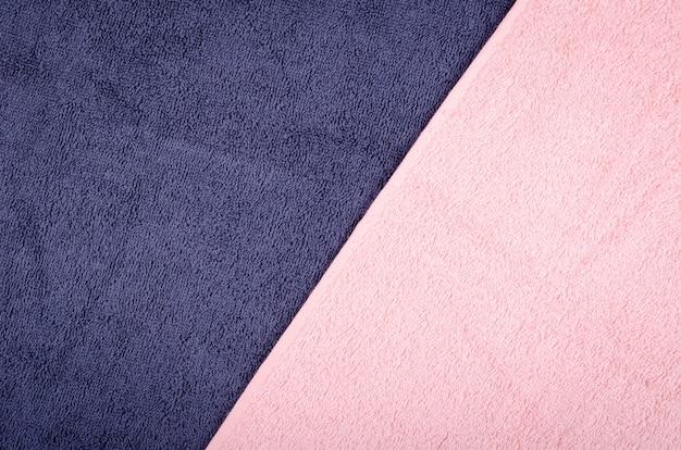 Struttura blu del tessuto dell'asciugamano, foto di vista superiore.