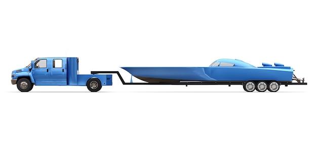 Camion blu con rimorchio per il trasporto di una barca da corsa su sfondo bianco. rendering 3d.