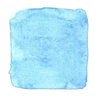 Quadrato irregolare blu dell'acquerello isolato sopra il fondo bianco