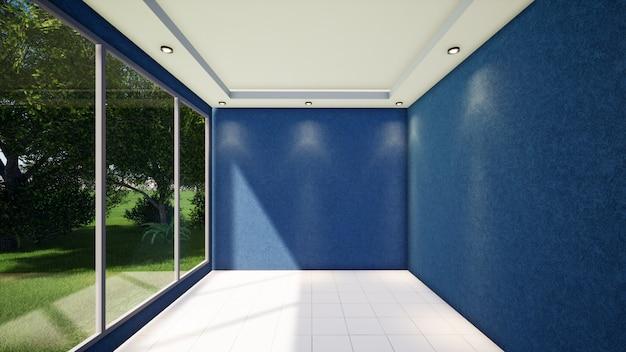 Pareti blu sulla casa interna vuota