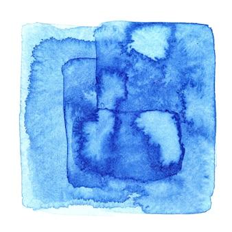 Quadrato blu dell'acquerello con macchie. sfondo astratto con trama di carta. elemento per il tuo design