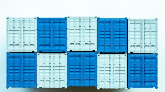 Contenitore di carico blu e bianco, esportazione di importazione della scatola di distribuzione, industria di spedizione logistica internazionale del trasporto di consegna del trasporto di affari globali su fondo bianco.