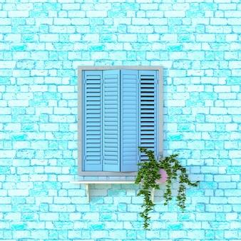 Finestra in legno blu decorata con fiori. illustrazione 3d.