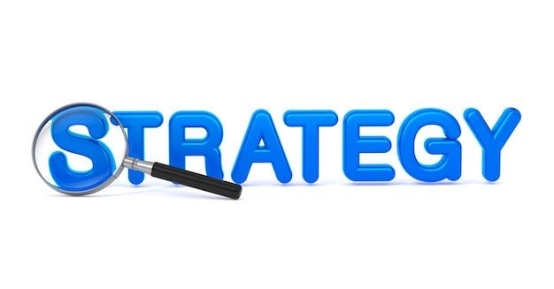 Strategia di parola blu con lente d'ingrandimento su bianco.