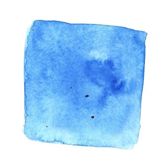 Quadrato acquerello blu ironico con macchie. sfondo astratto. elemento per il tuo design