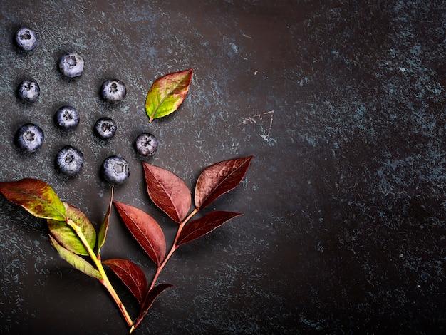 Sfondo di mirtilli, sfondo autunnale creativo con bacche di mirtilli e foglie. vista dall'alto. modello