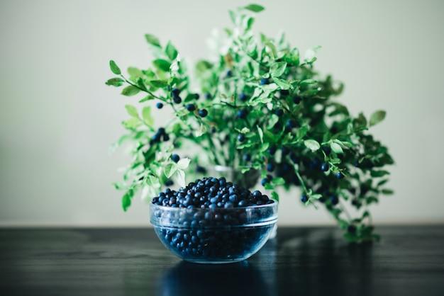 Mirtilli in una ciotola di vetro con ramoscelli e foglie su uno sfondo scuro. sano mangiare frutta fresca di stagione.