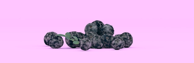 Mirtilli su uno sfondo viola, illustrazione 3d