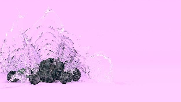 Mirtilli su sfondo viola in spruzzi d'acqua, illustrazione 3d