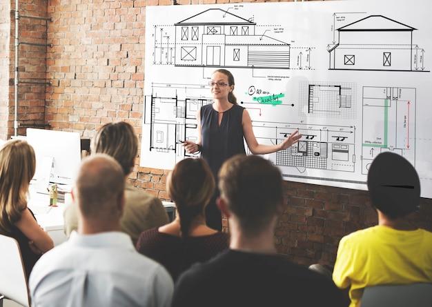 Concetto di schizzo del progetto di costruzione dell'architetto blueprint
