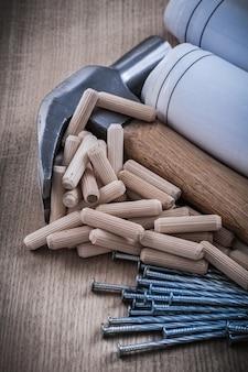 La cianografia rotola i perni di centraggio del martello da carpentiere e i chiodi di costruzione inossidabile