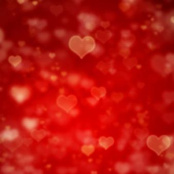 Sfondo rosso di san valentino blured con cuori
