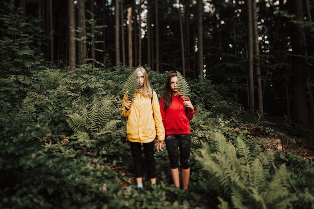 Ritratto vago e granulare di giovani coppie femminili che si tengono per mano nella foresta
