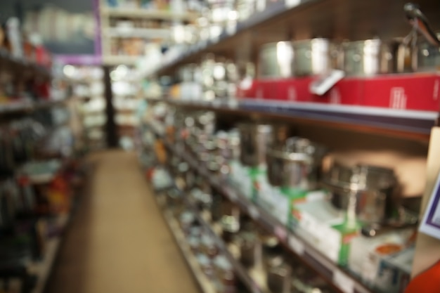 Vista sfocata dell'inventario di magazzino