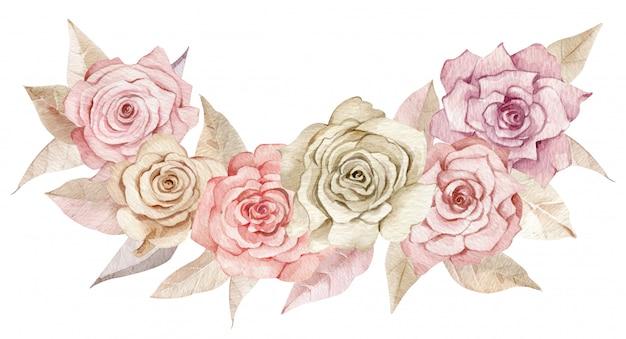 Arrossire arrangiamento floreale. fard e rose cremose con foglie beige.