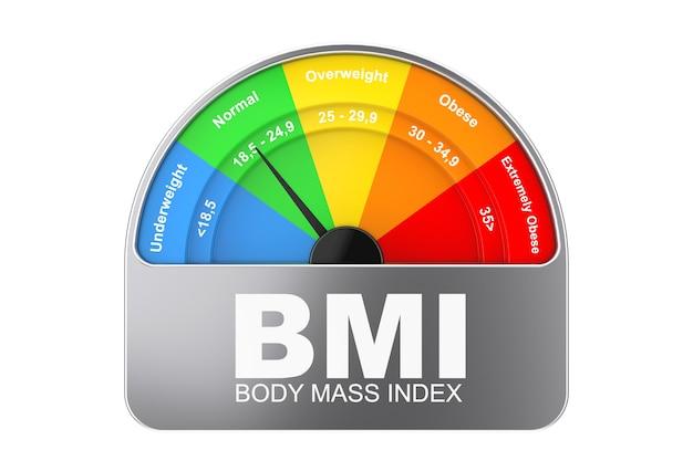 Bmi o indice di massa corporea scala misuratore quadrante icona su uno sfondo bianco. rendering 3d