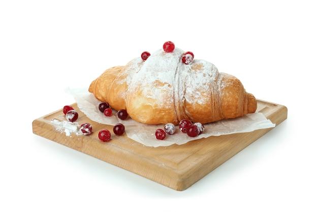 Pensione con gustoso croissant isolato su bianco