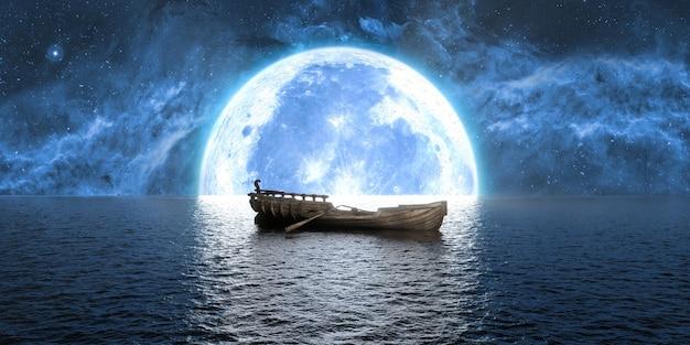 Barca sullo sfondo di una grande luna piena, 3d'illustrazione
