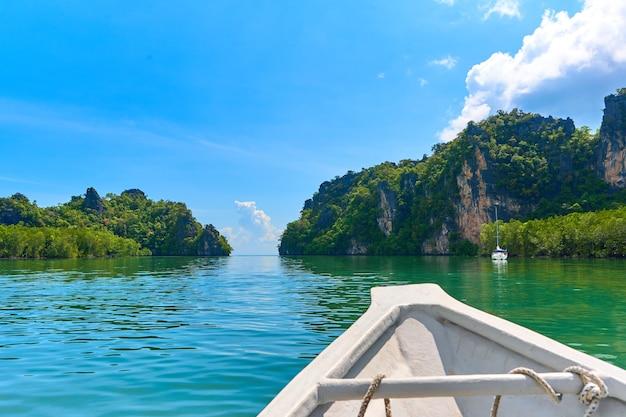 Gita in barca lungo il fiume nelle foreste di mangrovie.
