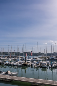 Barche nella marina del fiume lisbona