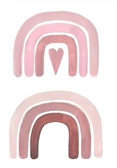 Boho rainbow illustration, arcobaleni acrilici dipinti a mano delicati, stampa d'arte per bambini, grafica doccia per bambini, arte vivaio, clipart boho scrapbook moderno