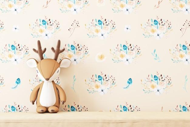 Rendering 3d di sfondo della stanza dei bambini in stile boho