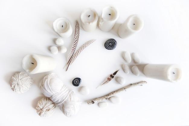 Boho con candele e filo di cotone