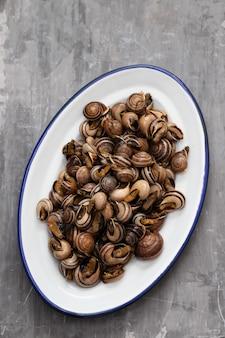 Lumache bollite con erbe aromatiche nel piatto bianco su fondo in ceramica