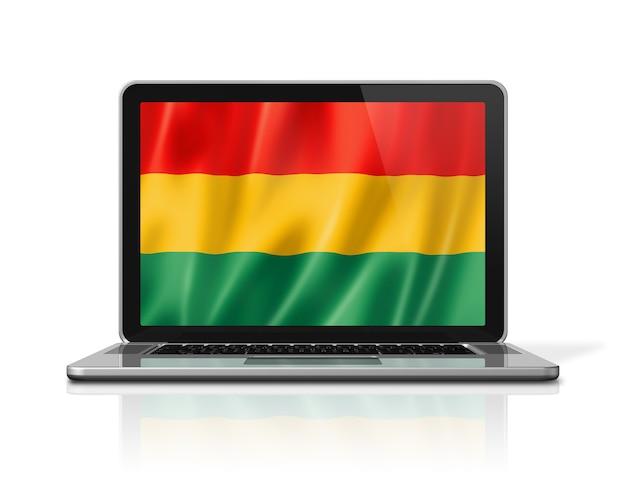 Bandiera della bolivia sullo schermo del computer portatile isolato su bianco. rendering di illustrazione 3d.