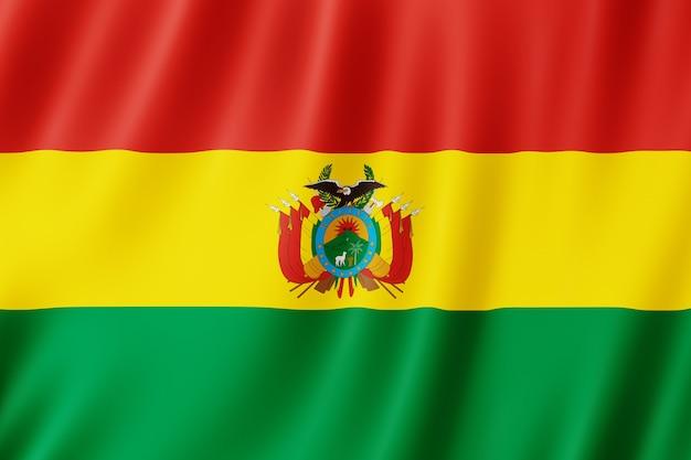 Bandiera della bolivia che fluttua nel vento.